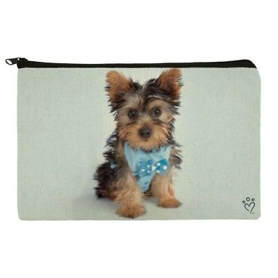 Yorkie Yorkshire Terrier Dog Bow Tie Makeup Cosmetic Bag Organizer Pouch
