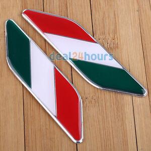 2x 3D Aluminum Auto Decal Italy Italian Flag Car Decor Sticker Emblem Badge Logo