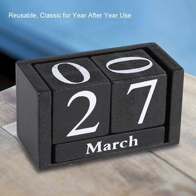 (Wooden Calendar Desktop Wood Block Month Date Display Home Office Desk Decor)