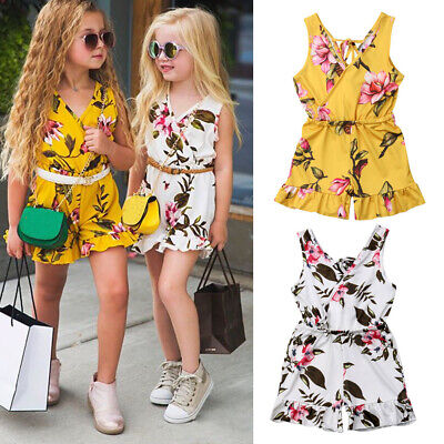 US Summer Toddler Baby Kids Girls Floral Romper Bodysuit Jumpsuit Outfit Clothes - Girls Clothes