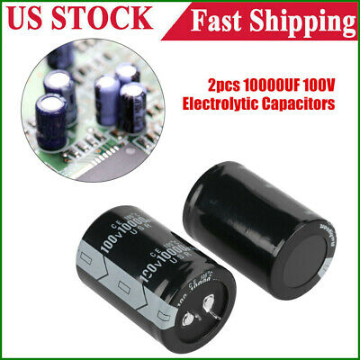 10000uf 2pcs 100v Component Electrolytic Capacitor 105 3.5x5cm Ship From Usa