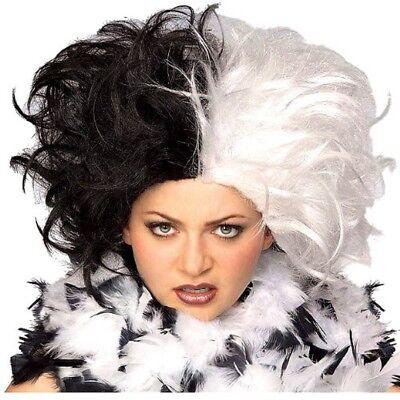 Cruella De Vil Wig 101 Dalmatians Black White Halloween Deville Movie Split Half](Halloween De Film)