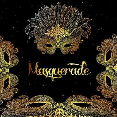 Masquerade Gold Mask CP Photography Backdrop Printed Background HXB-192 - Masquerade Backdrop