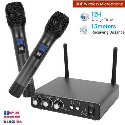 Professional Wireless Microphone Mic System UHF 25 Channel Dual Handheld Karaoke Uhf Wireless Karaoke Microphone System
