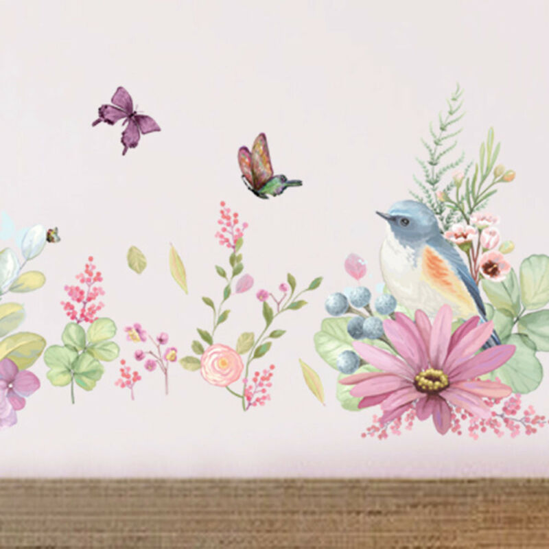 Home Decoration - Removable Wall Flower Butterfly Stickers Wardrobe Bedroom Home Art Decals UK