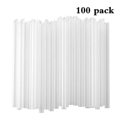 100PCS Plastic Jumbo Disposable Drinking Straw Smoothies Coc