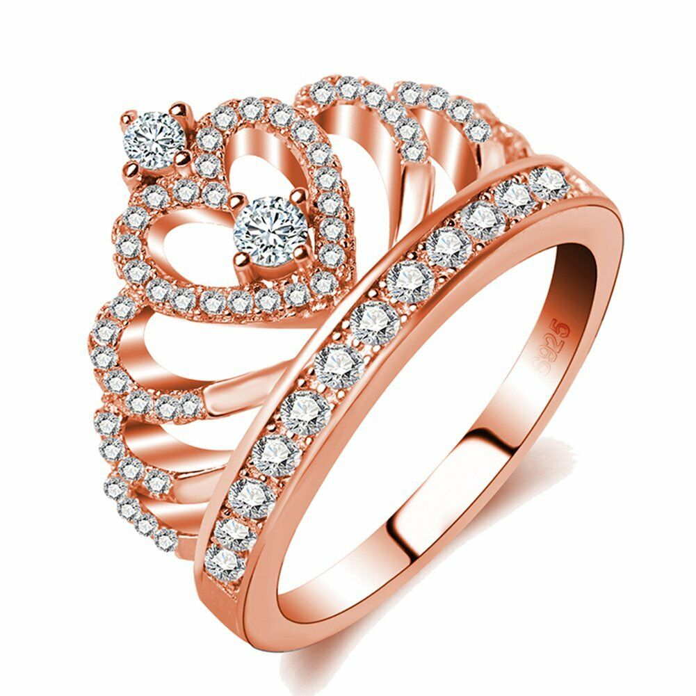 Rings Women 18K Rose Gold Plated AAA CZ Princess Crown Ring