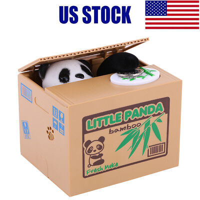 Cute Little Panda Stealing Coin Money Box Piggy Bank Storage Saving Box