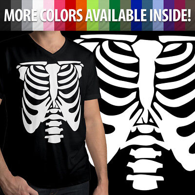 Rib Cage Body Skeleton Halloween Costume Funny Cool Mens/Unisex V-Neck T-Shirt (Cool Funny Halloween Costumes)