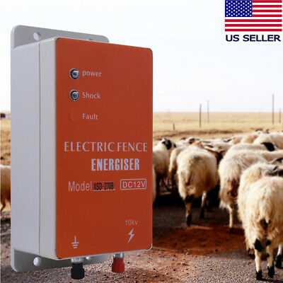 12v Electric Pulse Fence Controller Energizer Charger For Animals Cattle Poultry