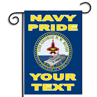 Personalize Your Navy Pride USS George H W Bush CVN 77 Outdoor Nylon Garden Flag ()
