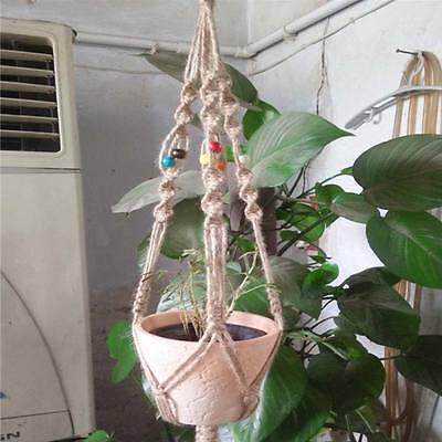 Handmade Jute Macrame Plant Hanger Hanging Basket Pot Holder Flowerbed RS