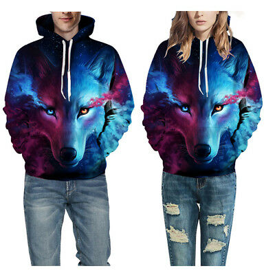 3D Print Space Galaxy Wolf Shirt Jacket Pullover Hoodie Cool Men Women (Cool Pullover)