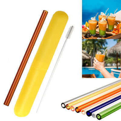 Reusable Glass Straw Wedding Birthday Party Drinking Straws Set + Cleaning Brush (Glasses Straw)