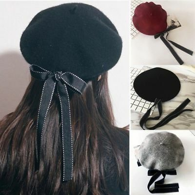 Magik Wool Blend Bow Long Tie Artist Warm French Vintage Beanie Beret Hat Cap - French Artist Beret