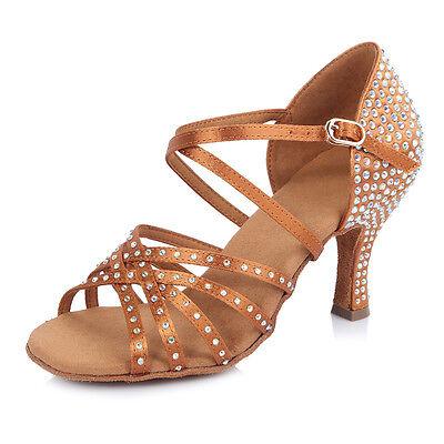 Best Satin Ballroom Latin Dance Shoes with Rhinestone for Women/GirlsTango&Salsa