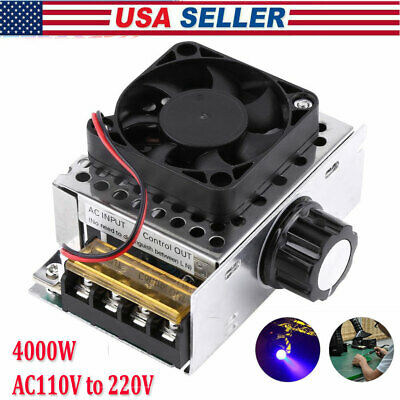Ac 110-220v Scr Motor Speed Controller Volt Regulator Dimmer Thermostat 4000w