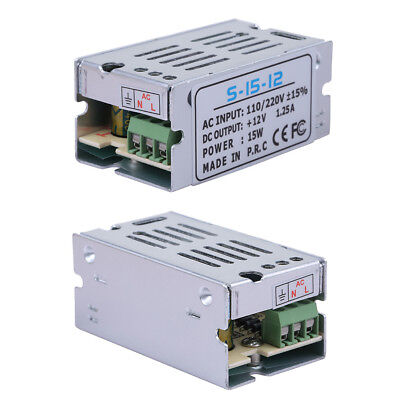 2 DC 12V 1.25A 15W Universal Regulated Switching Power Supply Adapter AC110-220V (1.25a Power Supply)