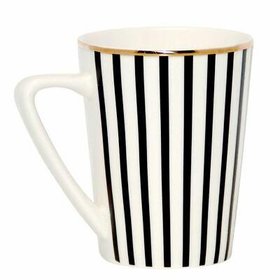 Tasse Kaffeetasse 275ml Stripes black white gold Becher von Dutch Rose Amsterdam White Rose Tasse
