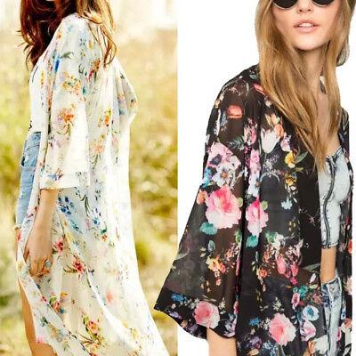 (Women Vintage Floral Loose Shawl Kimono Cardigan Boho Chiffon Tops Jacket Blouse)