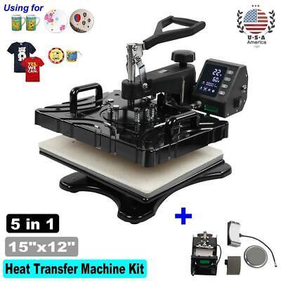 15x12 5 In 1 Heat Press Machine Printer Transfer Sublimation T-shirt Mug Hat