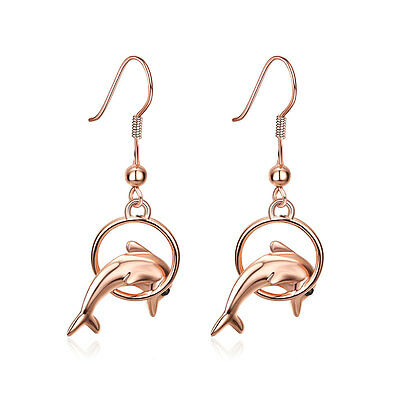 18K Rose Gold Plated Earrings Drop Dangle  Fish Hook Dolphin .52