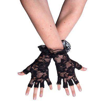 Halloween Fingerless Lace Gloves Madonna - Black