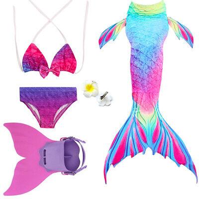 Swimmable Mermaid tail bikini set+ monofin Swimware kids girls cos gift Swimsuit