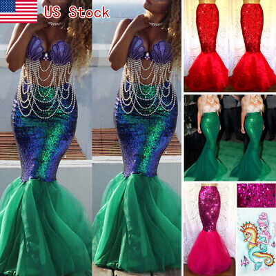 Hot Mermaid Costume (Women Mermaid Adult Halloween Costume Fancy Party Sequins Dress Tail Skirt)