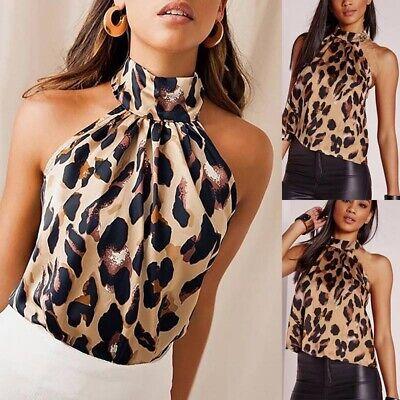 Halter Neck Blouse (Women Leopard Print Halter Neck Crop Top Sleeveless Ladies Blouse Backless Shirt )