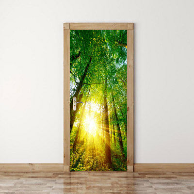 Forest Scenic Mural (3D Sunshine Forest Scenic Door Fridge Wall Mural Photo Wall Sticker Decal  )