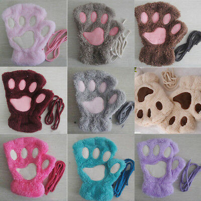 Women Fluffy Bear Cat Plush Paw Claw Warm Fingerless Gloves Half Finger Mittens - Cat Paw Gloves