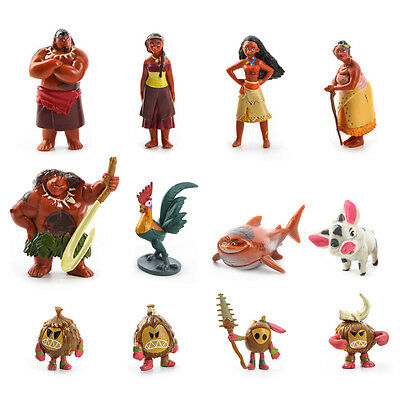 12Pcs Moana Action Figures Doll Kids Children Figurines Toy Cake Topper Decor