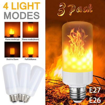 (3 Pack LED Flame Effect Simulated Nature Fire Light Bulb E27 5W Decoration Lamp)