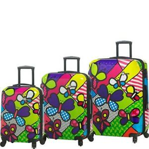 Mia Toro ITALY M by Mia Toro-Butterflies Hardside Spinner Luggage 3 Piece set