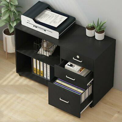 Tribesigns 3 Drawers Wood File Cabinets With Lock And Open Shelves Black White