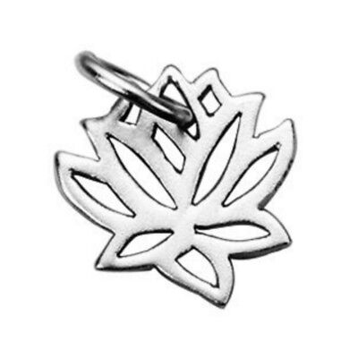 Flower Jump Ring - Sterling Silver Lotus Flower Charm with Closed Jump Ring (S128)