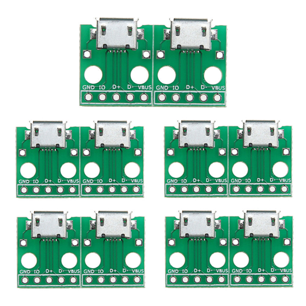 10pcs Micro Usb To Dip Adapter 5pin Female Connector B Type Pcb Smt Pcba Suitable For Camera Circuit Board And Electronic Stock Photo