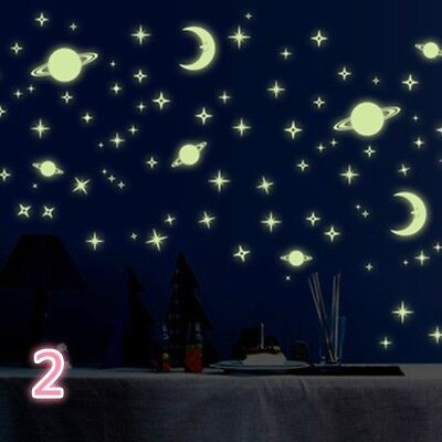 Moon and Stars Glow In The Dark Luminescent Wall Sticker Baby Nursery Decor #HN8 - Stars And Moon Decorations