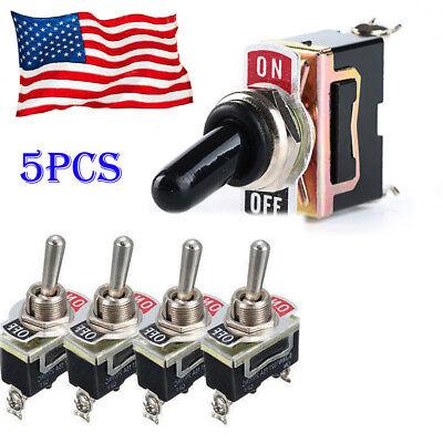 5pcs Heavy Duty 20a 125v Spst 2pin Onoff Rocker Toggle Switch Waterproof Boot