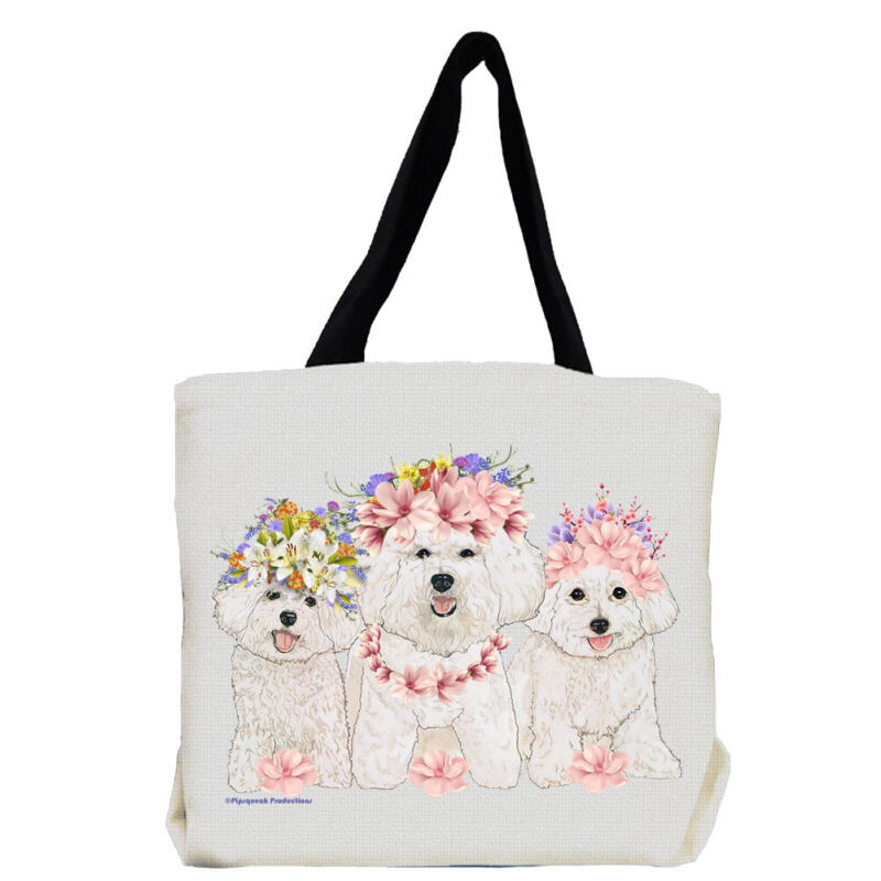 Bichon Frise Dog with Flowers Tote Bag