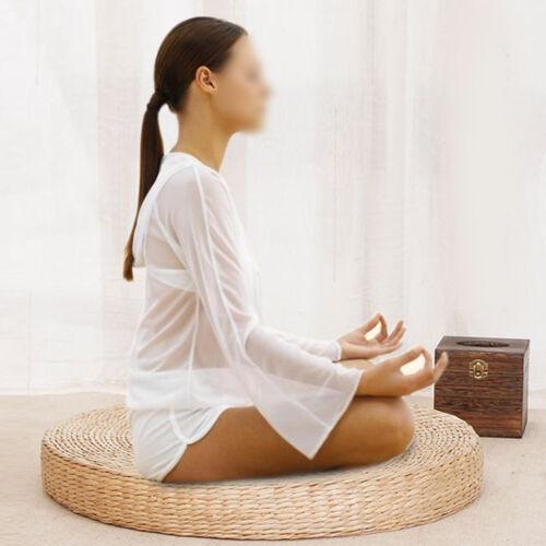 Round Straw Woven Tatami Cushion Floor Yoga Patio Pouf Medit