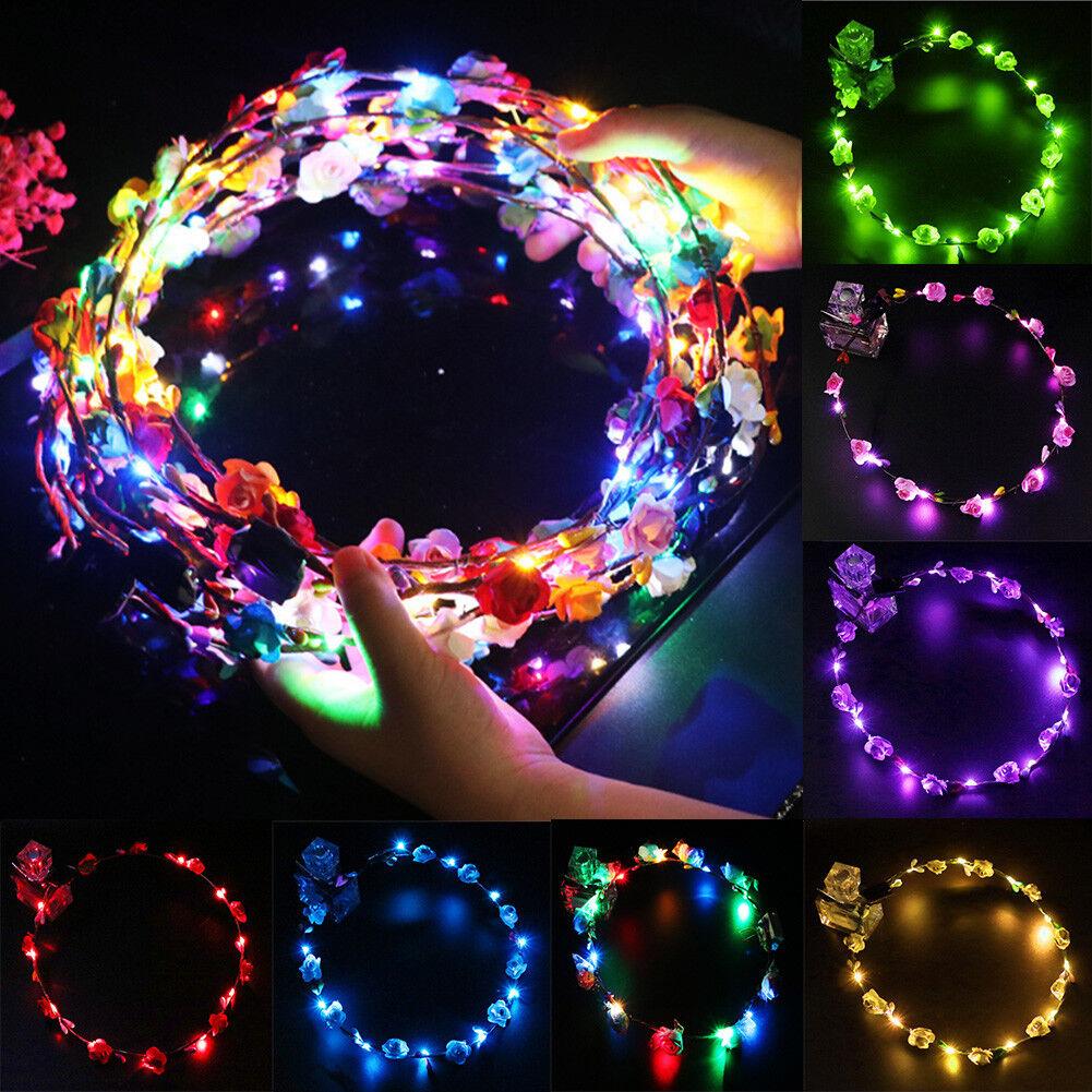 LED Blumen Kranz Haarband Blüten Haarkranz Stirnband Haarschmuck Party Festival