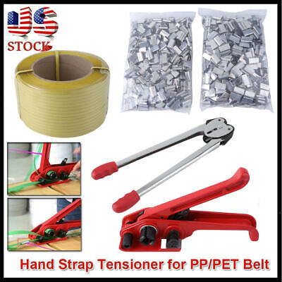 Strapping Tool Complete Kit 1000 Metal Seals Poly Strap Banding Roll Supply