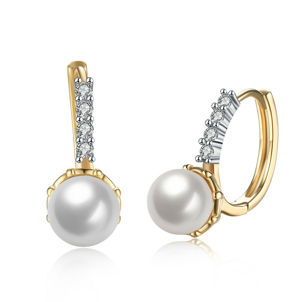 14k Yellow Gold Plated Genuine Ball Fresh Water Pearl with Leverback Earrings