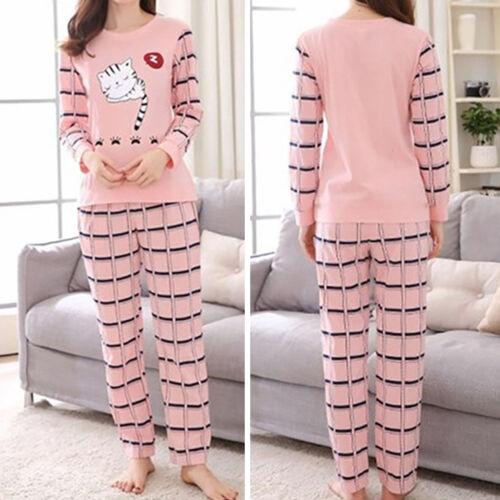 Women Lady Sleepwear Long Sleeve Pajamas Sets Cat Printing H