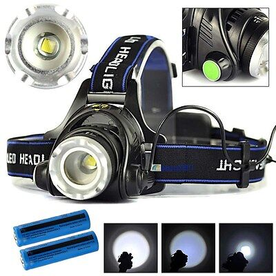 Tactical Headlight Cree Xm L 25000Lm Rechargeable T6 Led Headlamp Batt Charger