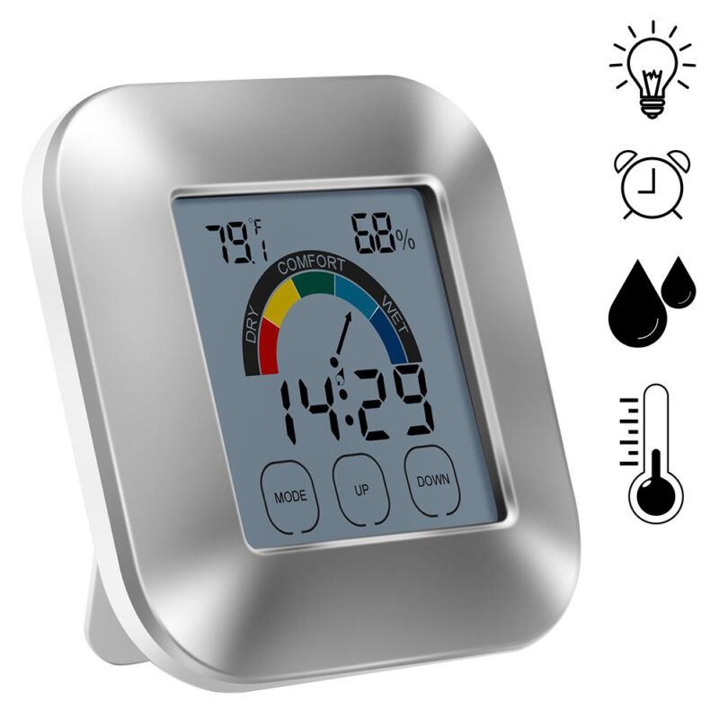 Wireless Weather Clock Electronic Screen Touch Digital Thermometer IndoorOutdoor