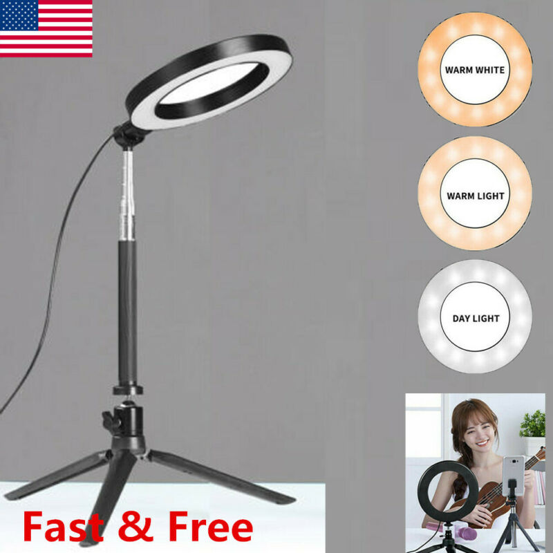 LED Ring Light Video Studio Photo Tripod Stand Selfie Camera Phone Fill Light US