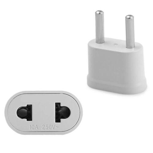 1x White US USA to EU Euro Europe AC Power Plug Converter Travel Adapter Charger